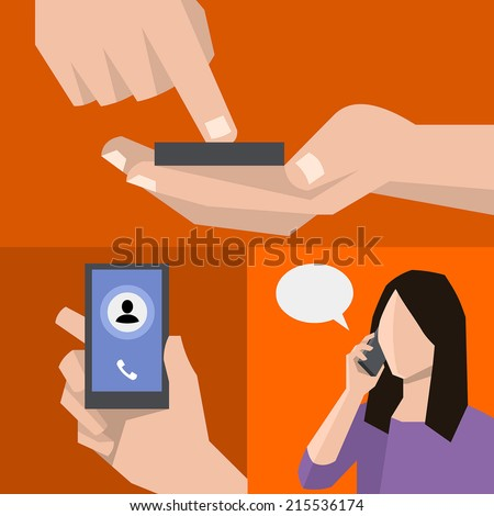 Dialling, calling and talking on the mobile phone. Hand holding smart phone in modern flat style design. - stock vector