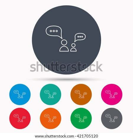 Dialog icon. Chat speech bubbles sign. Discussion messages symbol. Icons in colour circle buttons. Vector - stock vector