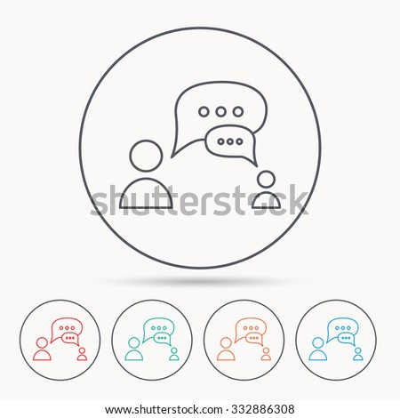 Dialog icon. Chat speech bubbles sign. Discussion messages symbol. Linear circle icons. - stock vector