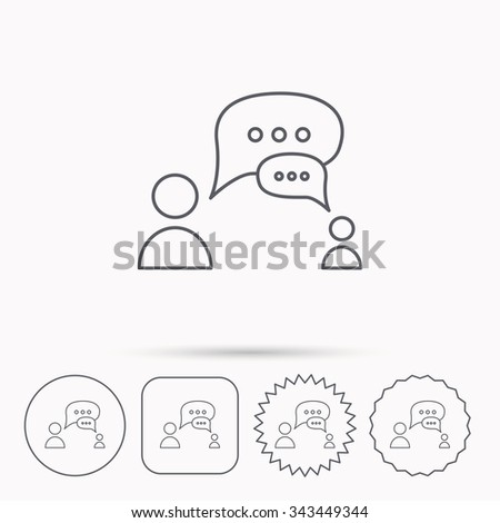 Dialog icon. Chat speech bubbles sign. Discussion messages symbol. Linear circle, square and star buttons with icons. - stock vector