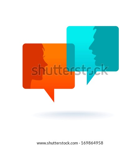 Dialog - Speech bubbles with two faces - stock vector