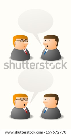 Dialogue between two persons, cartoon illustration, place for your text - stock vector