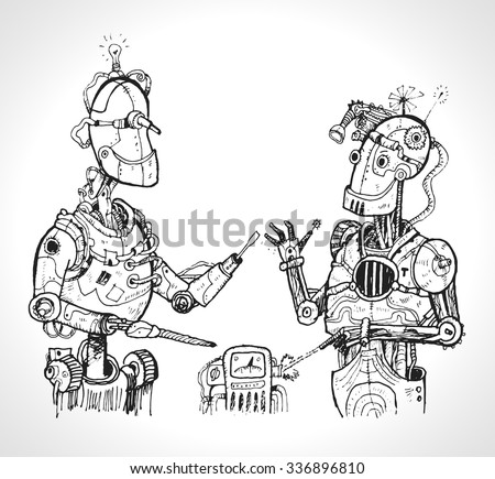 Dialogue of robots. Cyberpunk vintage robots, hand drawn vector illustration - stock vector