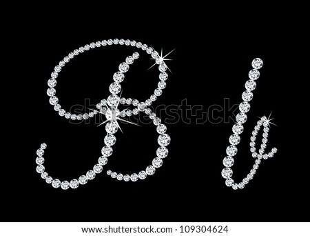 """Diamond alphabetic uppercase and lowercase letters of """"B"""". Vector illustration - stock vector"""