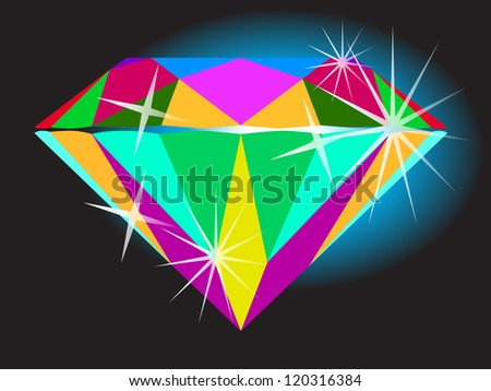 Diamond anatomy pattern in standard cut for modern round brilliant with 58 facets illustrated by many colors shown premium design of 26 shapes in 10 EPS format. - stock vector