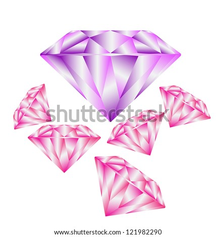 Diamond anatomy pattern in standard cut for modern round brilliant with 58 facets illustrated by blue shown premium design of 27 shapes in vector 10 EPS  format. Purple and Pink. - stock vector