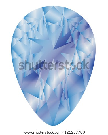 Diamond anatomy pattern in tear cut brilliant with 72 facets illustrated by blue shown premium design shapes in 10 EPS format. - stock vector