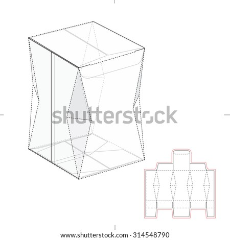 Diamond Creases Box with Die Line Template - stock vector