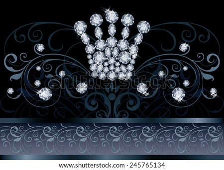 Diamond crown vip greeting card, vector illustration - stock vector