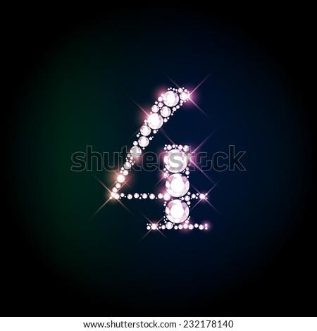 "Diamond glittering number ""4"" four of sparkling brilliants (glitter font concept) - stock vector"