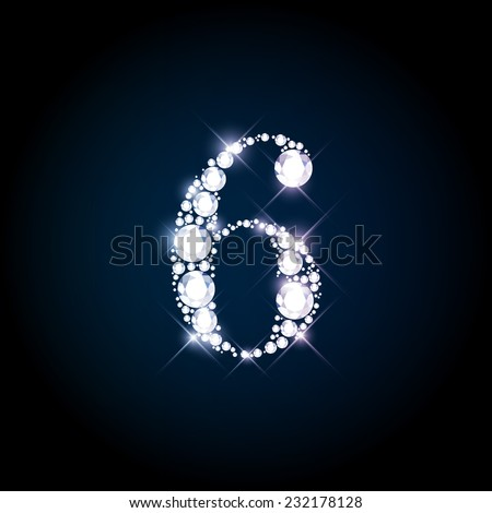 "Diamond glittering number ""6"" six of sparkling brilliants (glitter font concept) - stock vector"