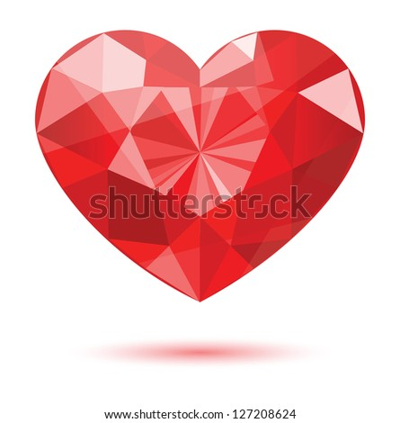 diamond heart shape, vector format for valentine or wedding concept. - stock vector