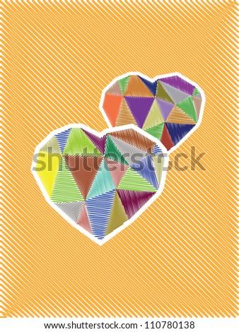 diamond heart sketch illustration, card - stock vector