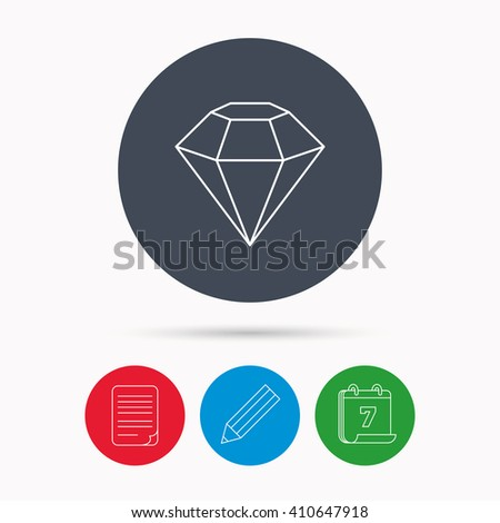 Diamond icon. Brilliant gemstone sign. Calendar, pencil or edit and document file signs. Vector - stock vector