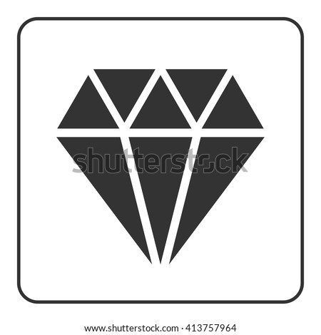 Diamond icon. Crystal sign. Brilliant stone. Black silhouette isolated on white background. Flat fashion design element. Symbol gift, jewel, gem or royal, rich, expensive, success. Vector Illustration - stock vector