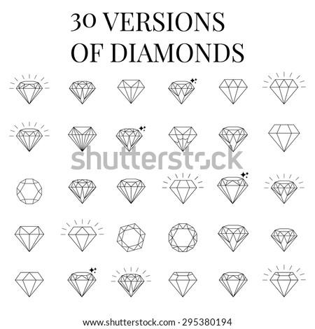 Diamond  icons set, design - stock vector