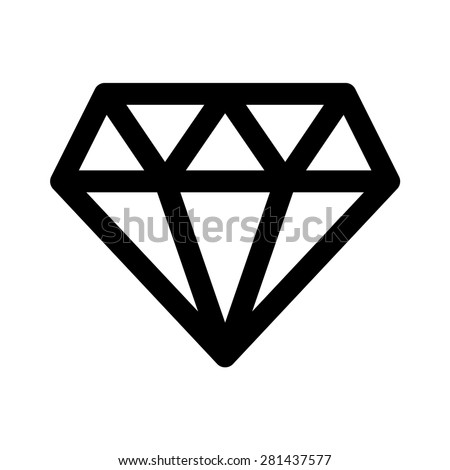 Diamond jewel gem or brilliant cut diamond line art icon for apps and websites