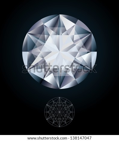 Diamond jewel, vector illustration