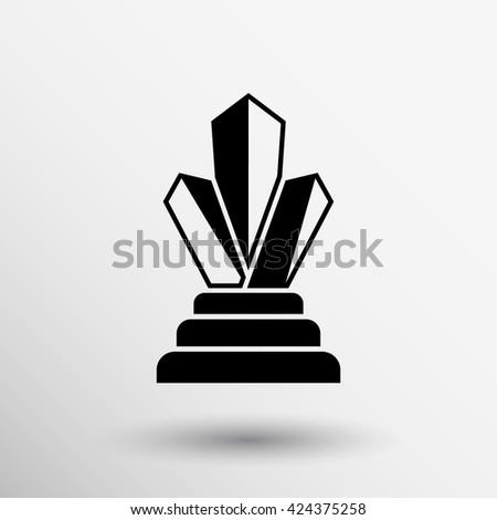 diamond jewel vector silhouette gems statue icon logo. - stock vector