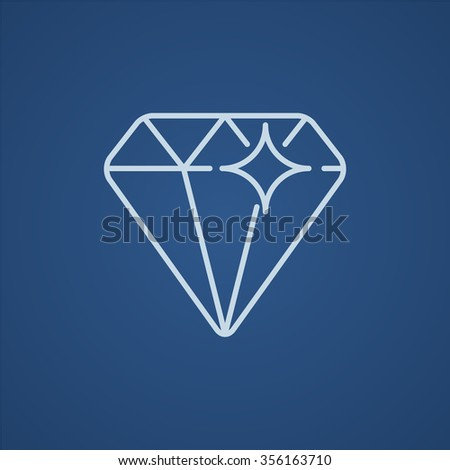 Diamond line icon for web, mobile and infographics. Vector light blue icon isolated on blue background.