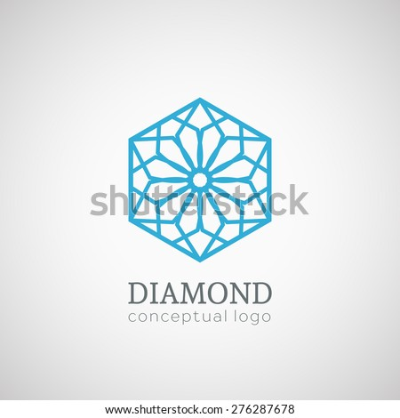 Diamond logo top view. Vector lineart symbol - stock vector