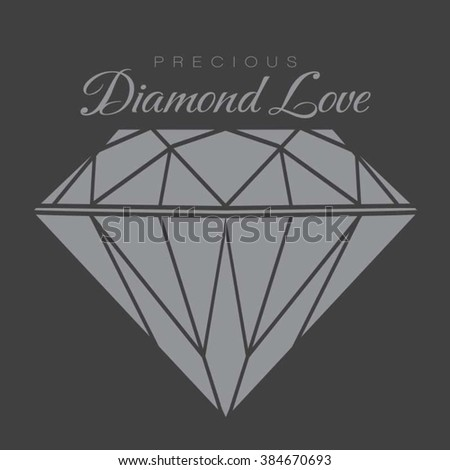 Diamond love illustration, typography, t-shirt graphics, vectors
