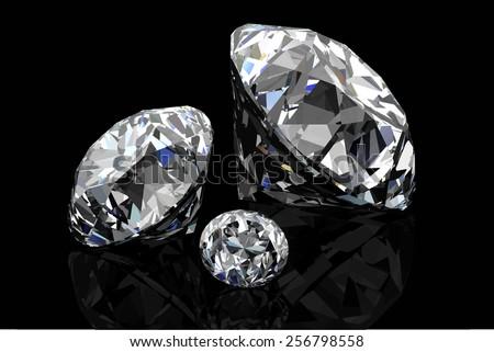 Diamond on black background .Vector illustration. - stock vector