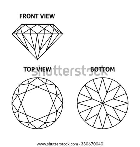 Diamond on three sides, vector illustration - stock vector