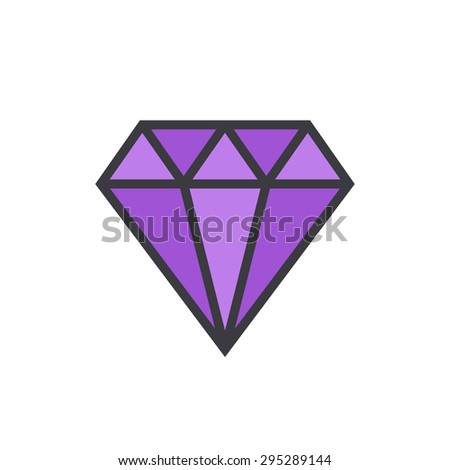 Diamond outline colored icon, modern minimal flat design style. Gem vector illustration, jewelry linear color symbol