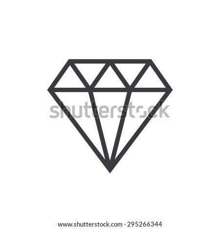 Diamond outline icon, modern minimal flat design style. Gem vector illustration, jewelry line symbol - stock vector