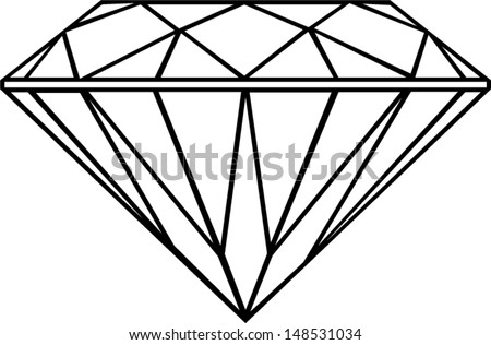 diamond outline isolated - stock vector