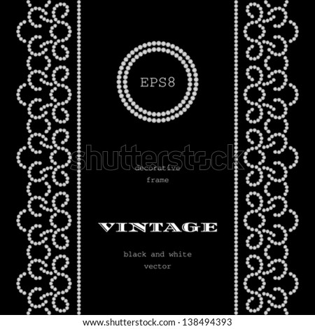 Diamond Pattern On Black Vintage Frame With Seamless Borders Vector Background