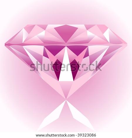 Diamond Pink Drawing - stock vector