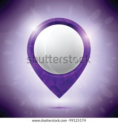 Diamond purple pin - stock vector