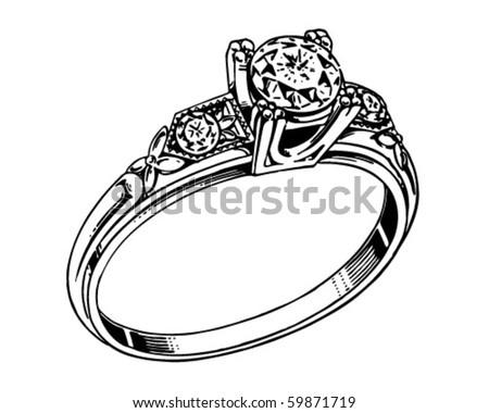 Diamond Ring 2 - Retro Clip Art - stock vector