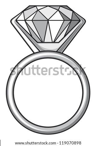 diamond ring (ring with diamond) - stock vector