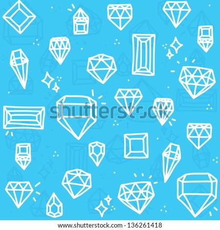 Diamond seamless vector pattern - stock vector
