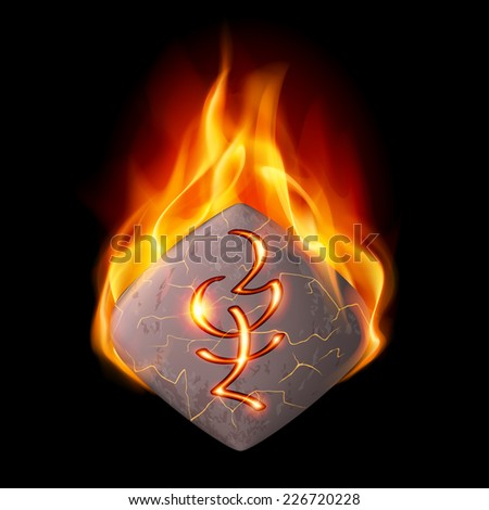 Diamond-shaped mysterious stone with magic rune in orange flame