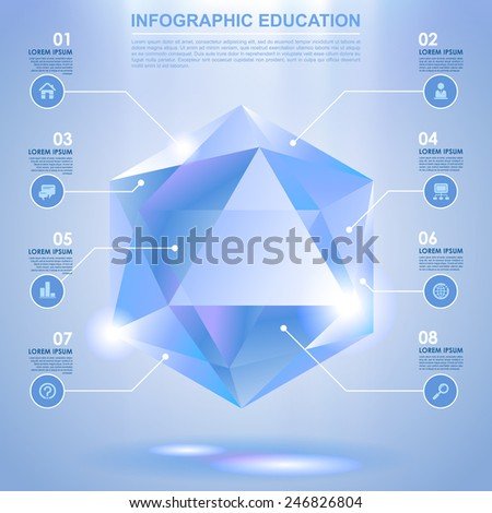 Diamond shaped Template with web icons. Vector illustration - stock vector