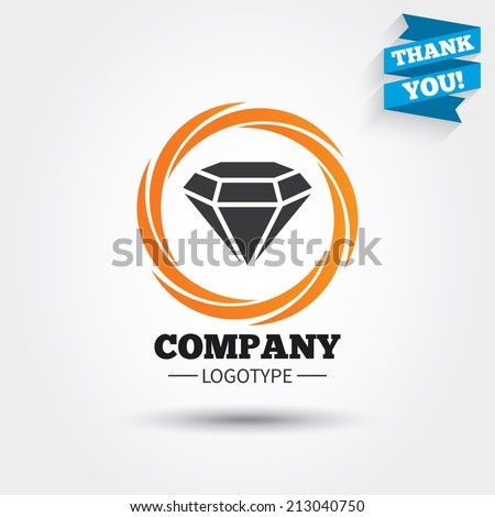 Diamond sign icon. Jewelry symbol. Gem stone. Business abstract circle logo. Logotype with Thank you ribbon. Vector - stock vector