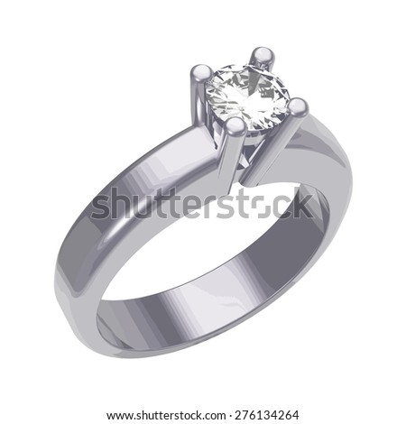 Diamond solitaire engagement ring - stock vector