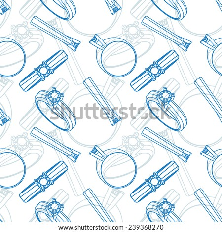 Diamond solitaire engagement rings seamless - stock vector