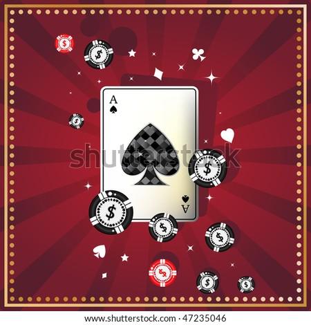 Diamond spade ace on red felt - stock vector