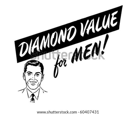Diamond Value For Men - Ad Header - Retro Clip Art