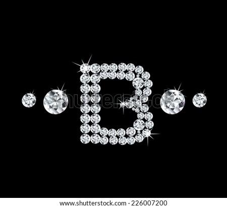 Diamond vector alphabetic letter 'B' - stock vector