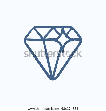 Diamond vector sketch icon isolated on background. Hand drawn Diamond icon. Diamond sketch icon for infographic, website or app. - stock vector
