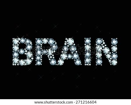 Diamond word brain - stock vector