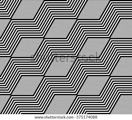 Diamonds and zigzag lines pattern. Seamless geometric texture. Vector art. - stock vector
