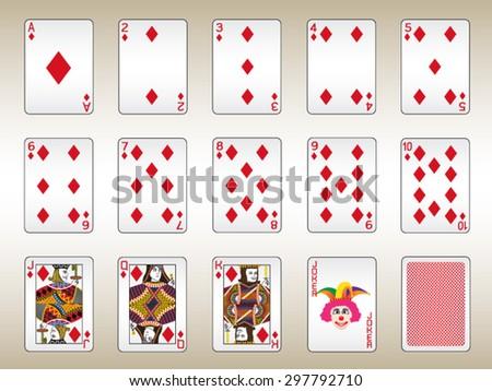 Diamonds Playing Cards Set - stock vector