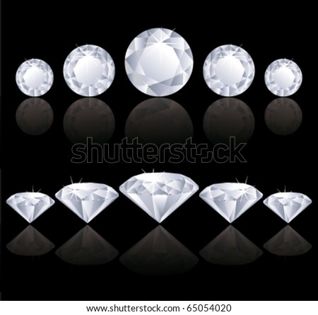 Diamonds rows with reflection. vector illustration. - stock vector